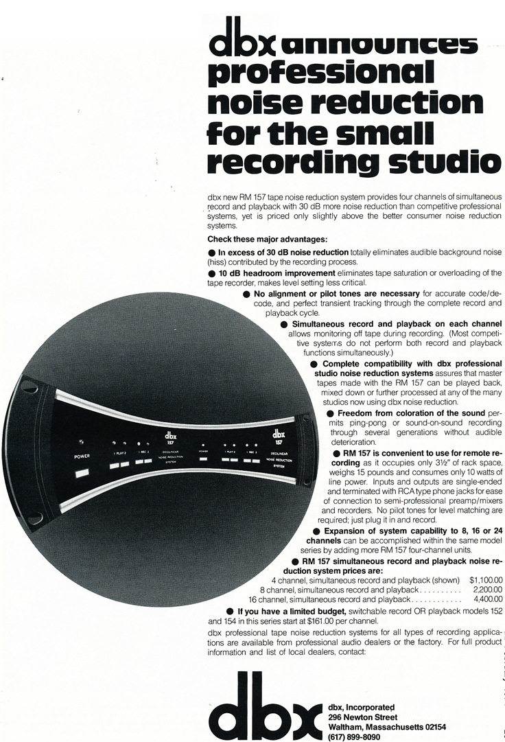 1974 ad for the dbx noise reduction units in Phantom Productions' vintage recording