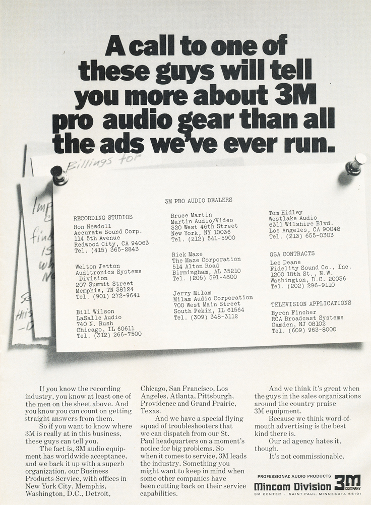 1975 ad for 3M highlighting that their recording equipment is being used by top studio engineers, including Ron Newdoll of Accurate Sound Company in Reel2ReelTexas.com's vintage recording collection