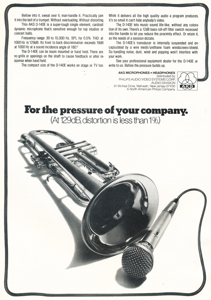 1975 ad for AKG microphones in Reel2ReelTexas.com's vintage recording collection