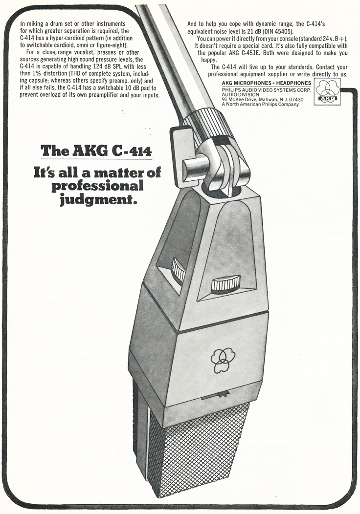 1975 ad for the AKG C-414microphone in Reel2ReelTexas.com's vintage recording collection