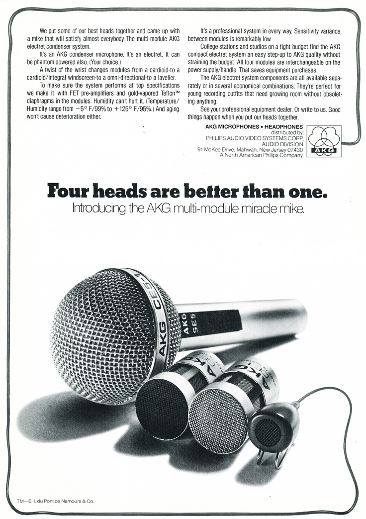 1975 ad for the AKG microphones in Reel2ReelTexas.com's vintage recording collection