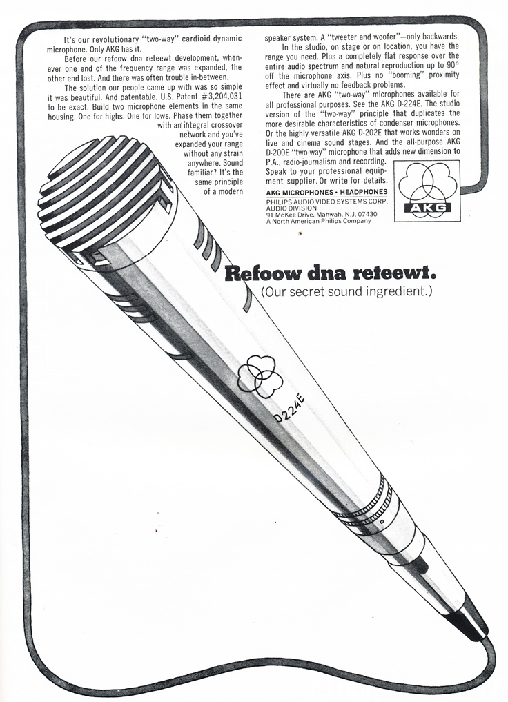 1975 ad for the AKG GD 224E microphone in Reel2ReelTexas.com's vintage recording collection