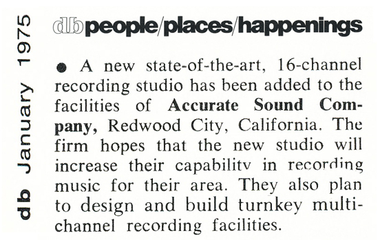 1975 announcement regarding Accurate Sound's new 16 track studio