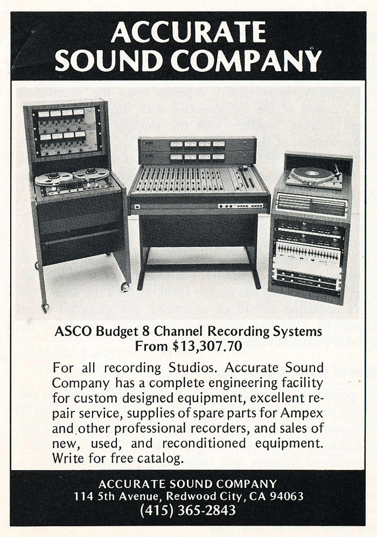 1975 ad for Accurate Sound Company's ASCO Budget 8 track studio package  in Reel2ReelTexas.com's vintage recording collection