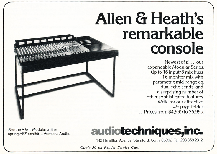 1975 ad for the Allen & Heath console in Phantom Productions' vintgae recording collection