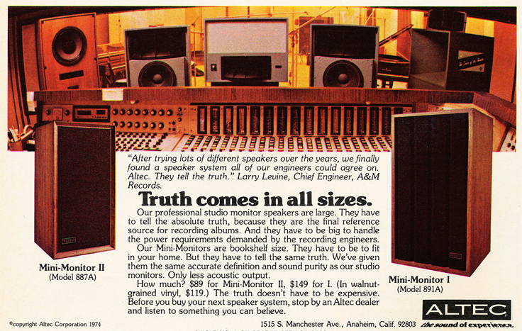 1975 ad for Altec studio speaker products in Phantom Productions' vintgae recording collection