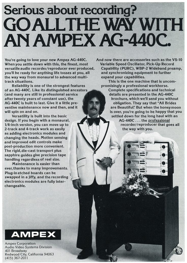 1975 ad for the Ampex AG-440C professional reel to reel tape recorders in Reel2ReelTexas.com's vintage recording collection