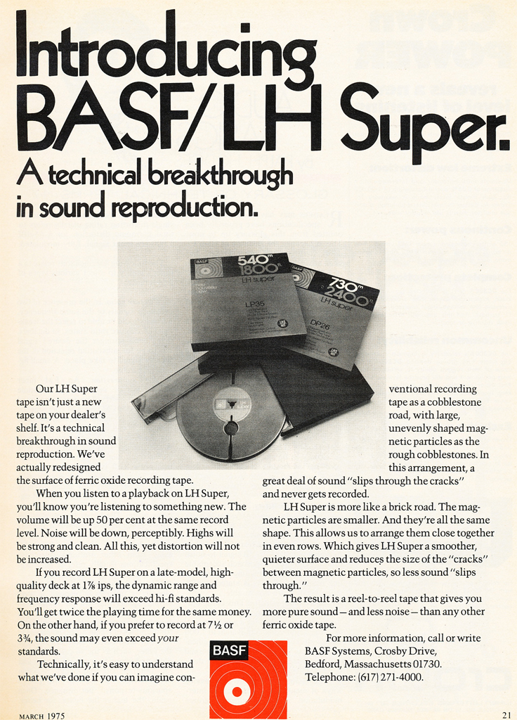 1975 ad for BASF reel to reel tape products in Phantom Productions' vintgae recording collection