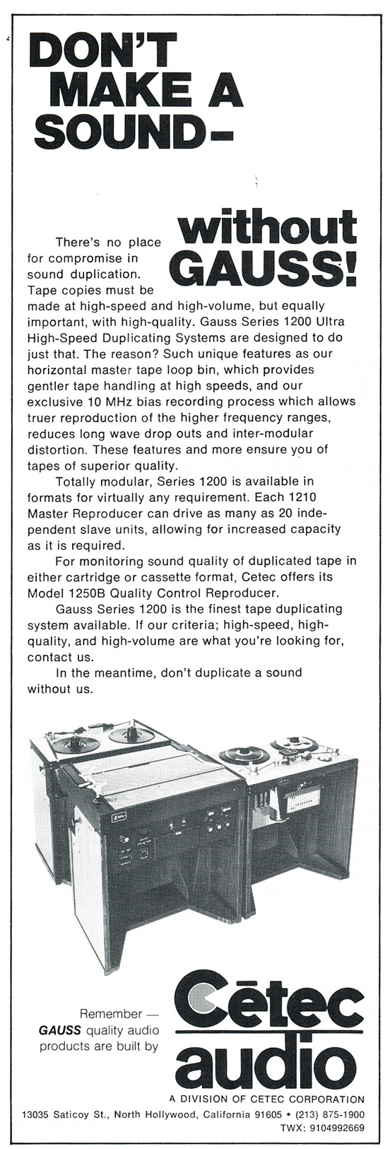 1975 ad for Cetec Reel tape recorders in Phantom Productions' vintgae recording collection
