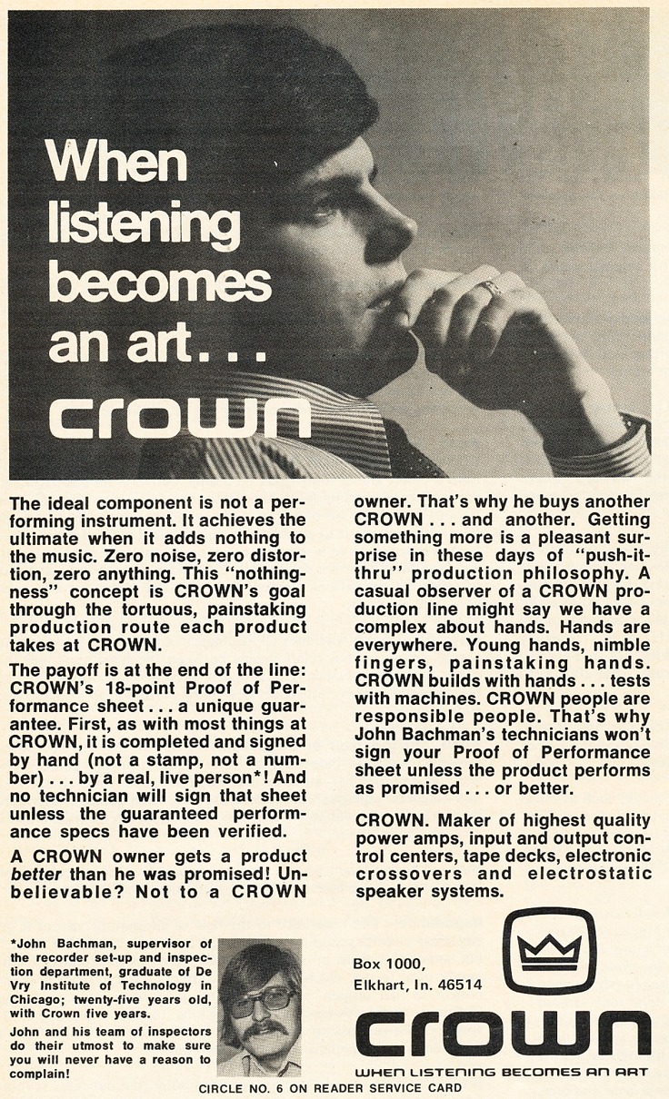 1975 ad for Crown equipment in Reel2ReelTexas.com's vintage recording collection
