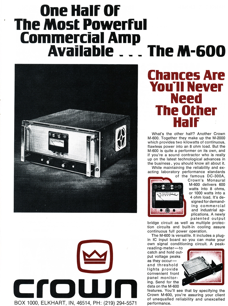 1975 ad for Crown M600 amplifier  in Reel2ReelTexas.com's vintage recording collection