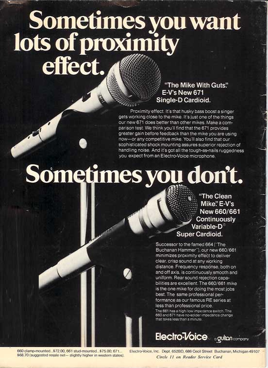 1975 ad for Electro Voice microphones 660/ 661 and 671 in Reel2ReelTexas.com's vintage recording collection