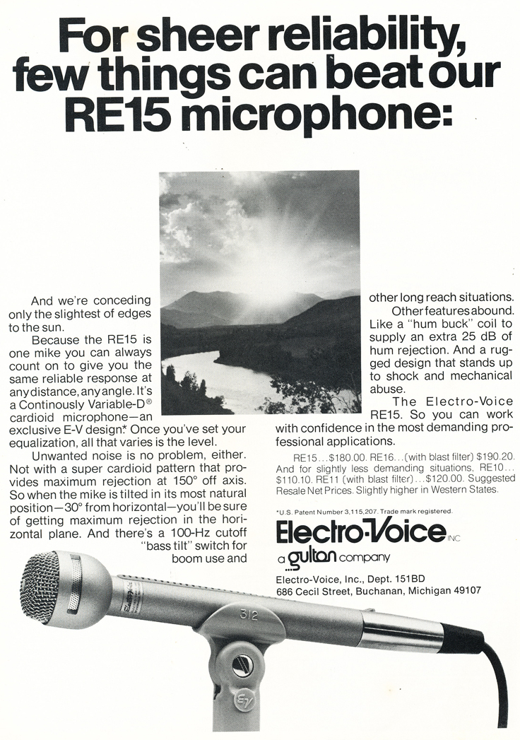 1975 ad for the Electro Voice RE15 microphone in Reel2ReelTexas.com's vintage recording collection