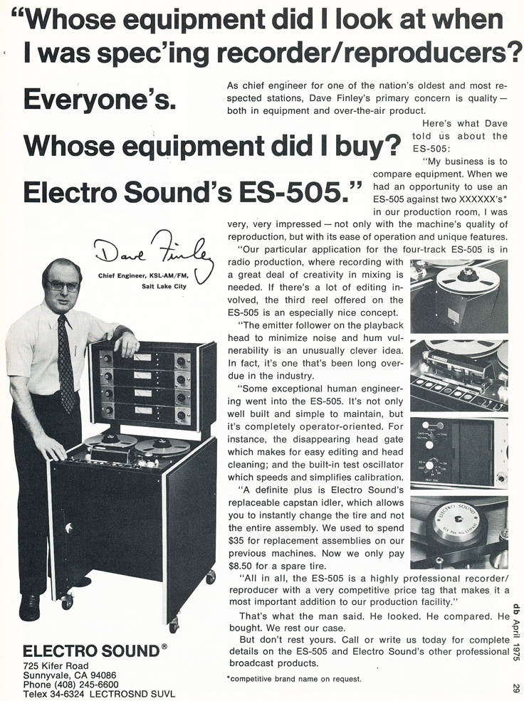 1975 ad for Electro Sound professional reel tape recorders in Reel2ReelTexas.com's vintage recording collection