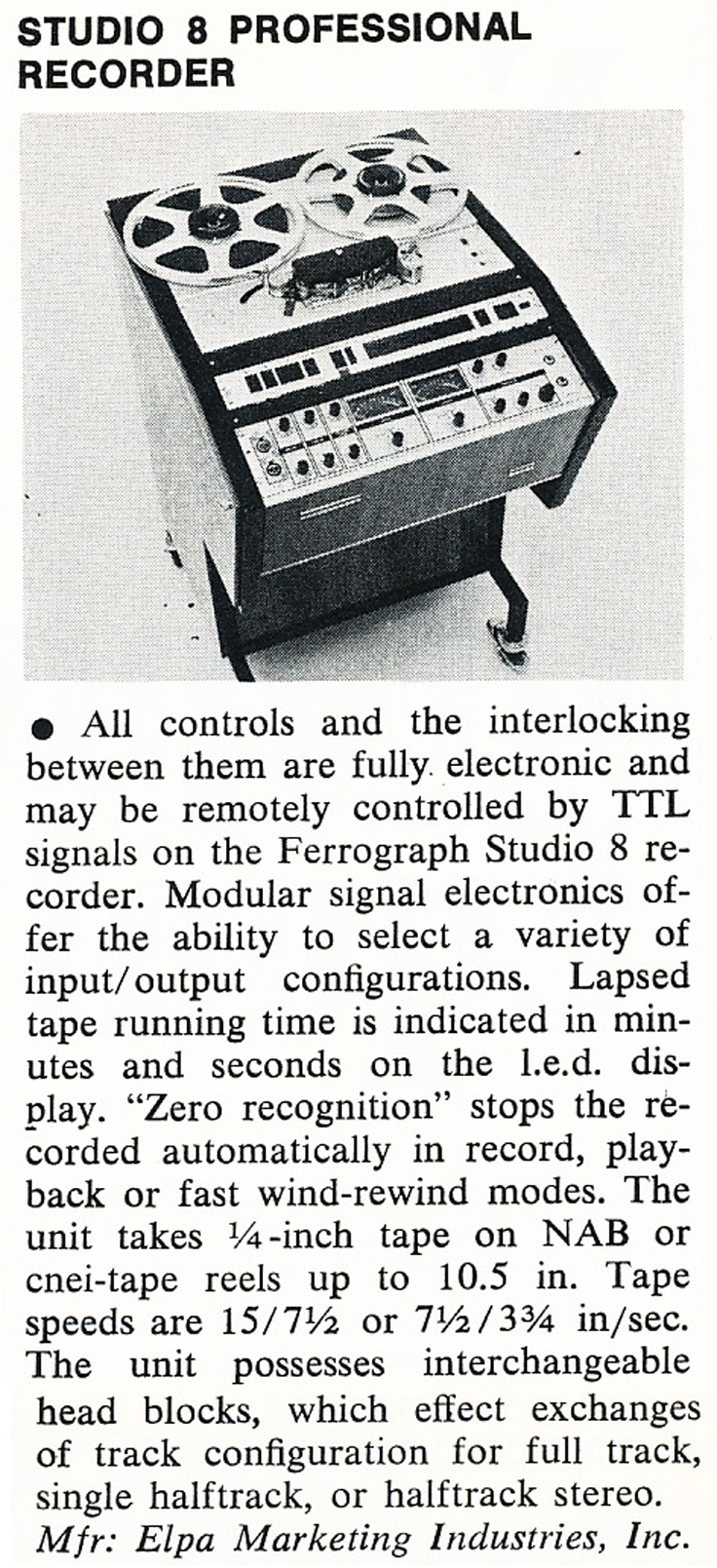 1975 review of the Ferrograph Studio 8 professional reel tape recorder in Phantom Productions' vintgae recording collection