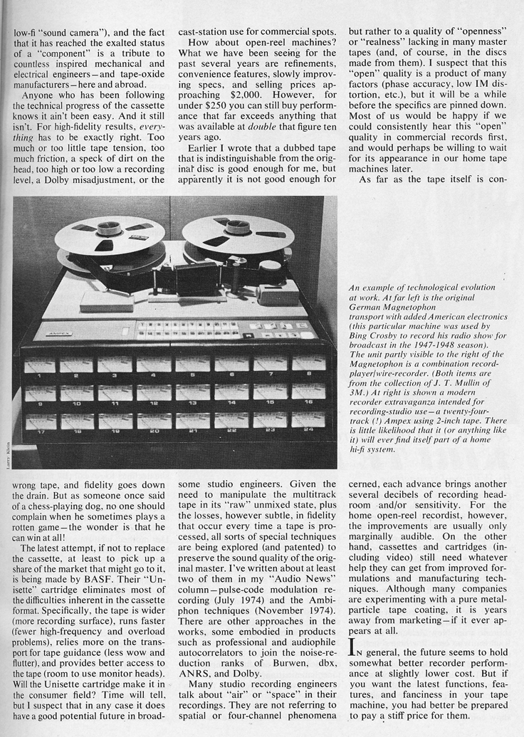 1975 article about the future of tape recording