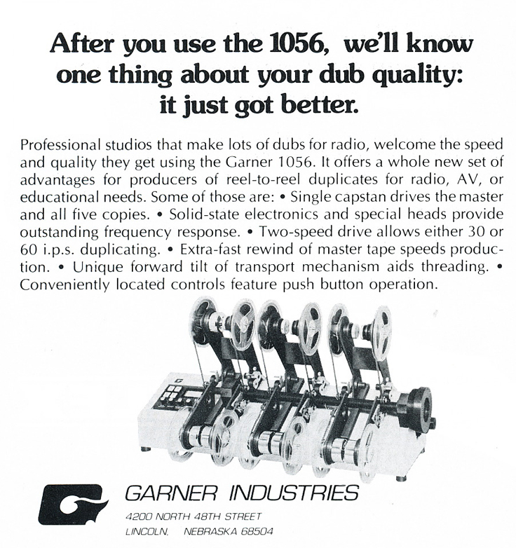 1975 ad for Garner reel tape duplicating equipment in Phantom Productions' vintgae recording collection