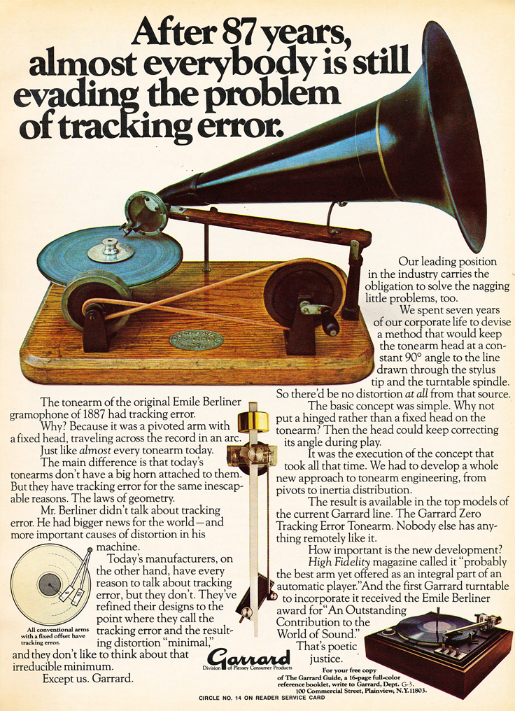 1975 ad for Garrard turntables featuring an old recording device  in Phantom Productions' vintgae recording collection