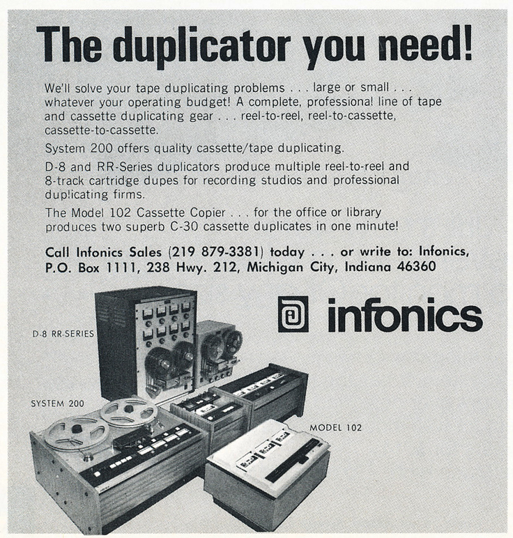 1975 ad for Infonics  in Reel2ReelTexas.com's vintage recording collection