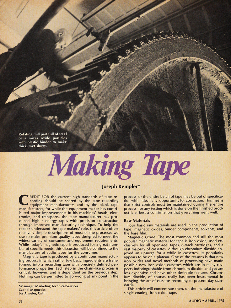 1975 Audio magazine article about the making of reel to reel recording tape