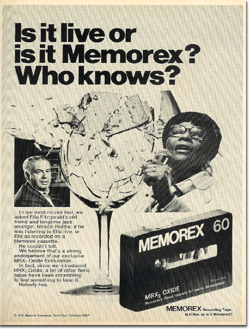 picture of 1975 Memorex recording tape ad