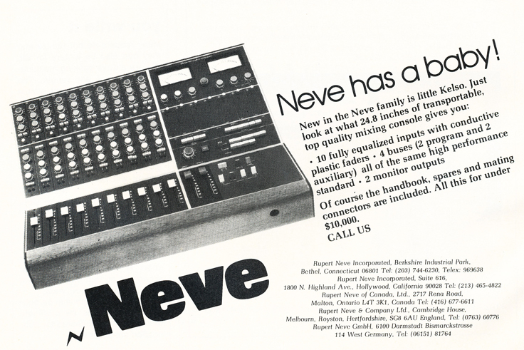 1975 ad for Neve recording consoles in Reel2ReelTexas.com's vintage recording collection