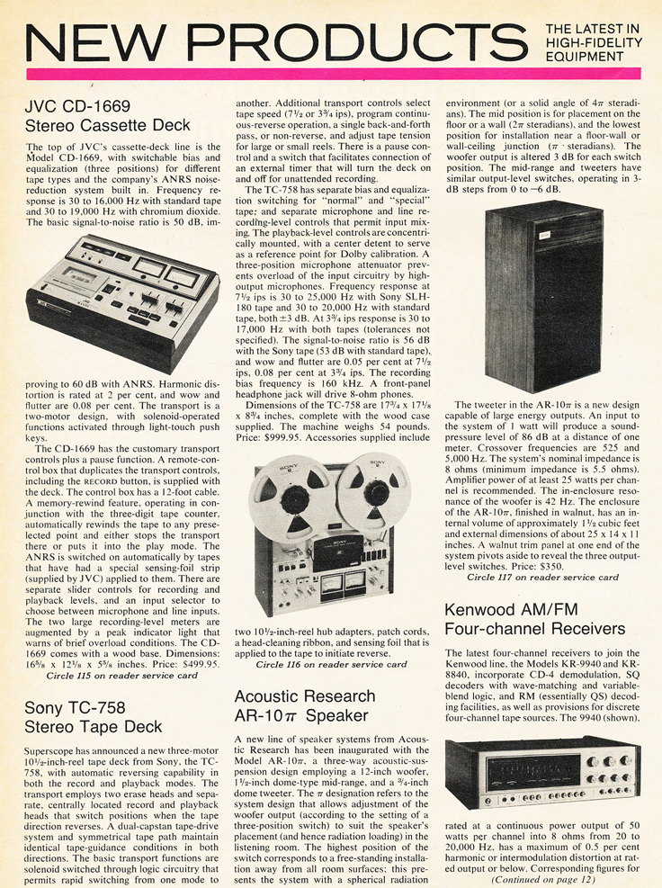 1975 new products listing