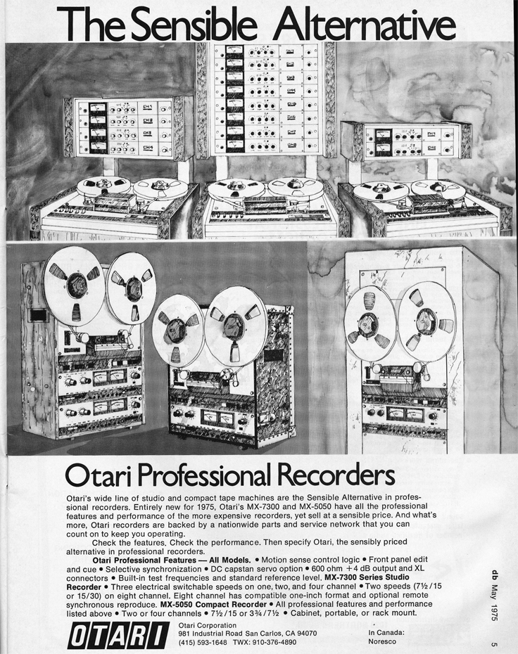1975 ad for Otari reel to reel tape recorders in Reel2ReelTexas.com's vintage recording collection