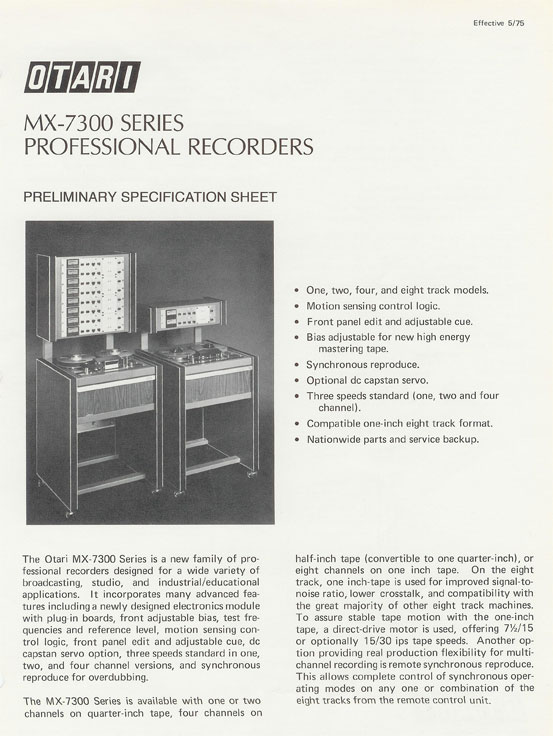 picture of 1975 Otari tape recorder ad