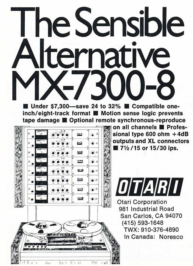 1975 ad for the Otari MX-7300 8 track reel to reel tape recorders in Reel2ReelTexas.com's vintage recording collection