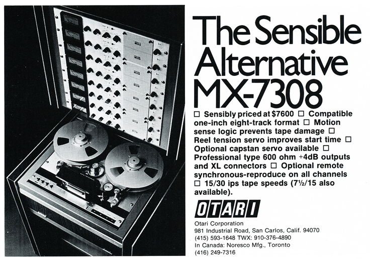 1975 Otari MX-MX-7308 brochure in Reel2ReelTexas.com's vintage reel tape recorder collection