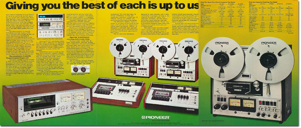 1975 ad for Pioneer Electronics in Reel2ReelTexas.com's vintage recording collection