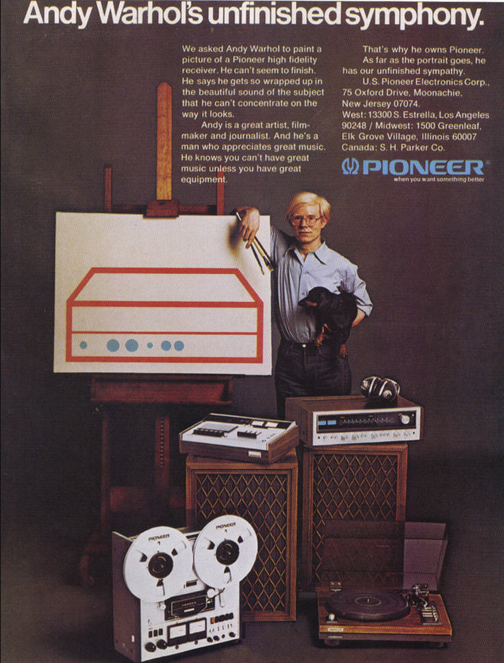 1975 ad for Pioneer Electronics featuring Andy Warhol in Reel2ReelTexas.com's vintage recording collection