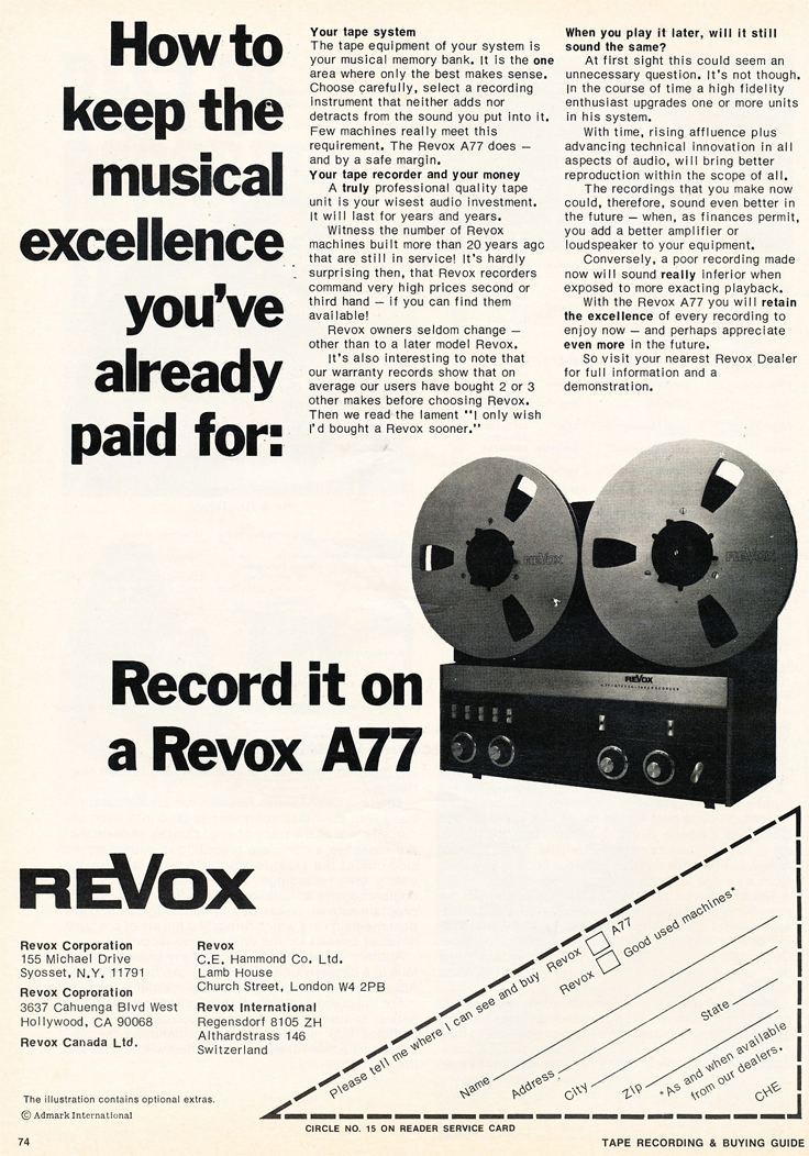 ReVox A77 ad in Reel2ReelTexas.com's vintage recording collection