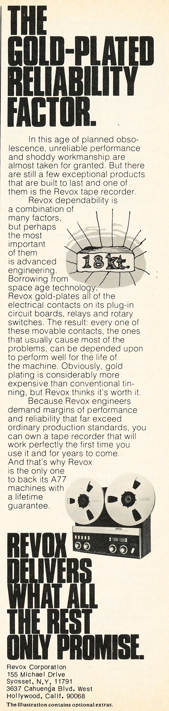 1975 ad for the ReVx A77 reel to reel tape recorder in Reel2ReelTexas.com's vintage recording collection