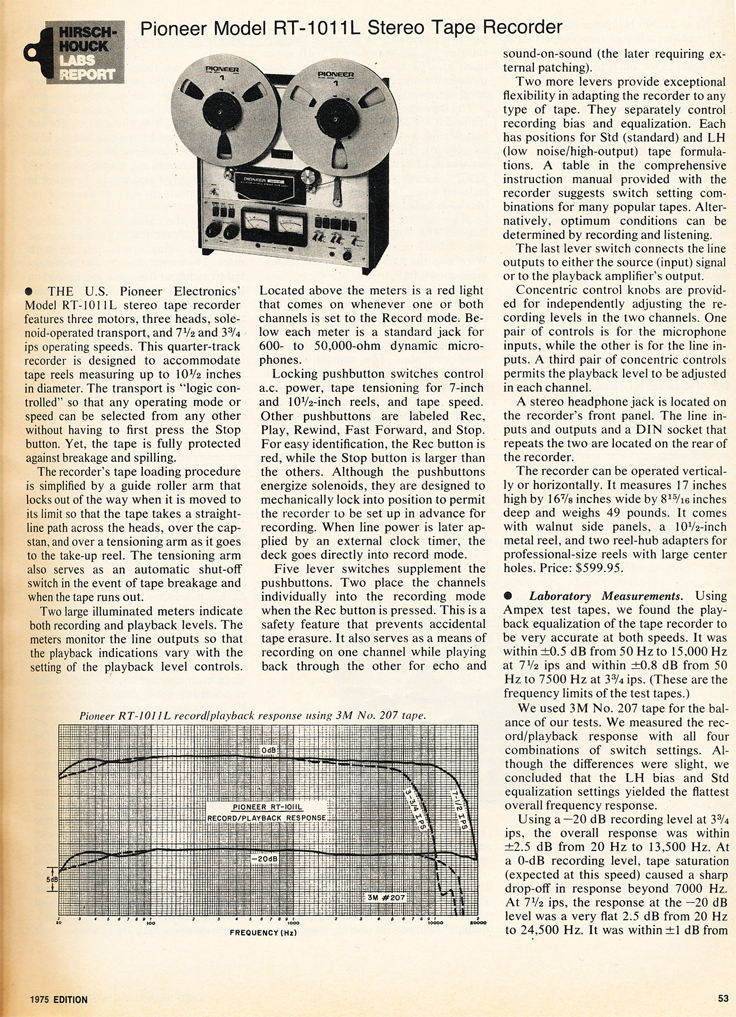 1975 Stereo Review Tape Issue review of the Pioneer RT-1011L