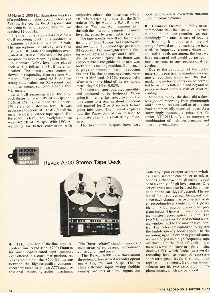 1975 Stereo Review Tape Issue review of the Pioneer RT-1011L and the ReVox A700