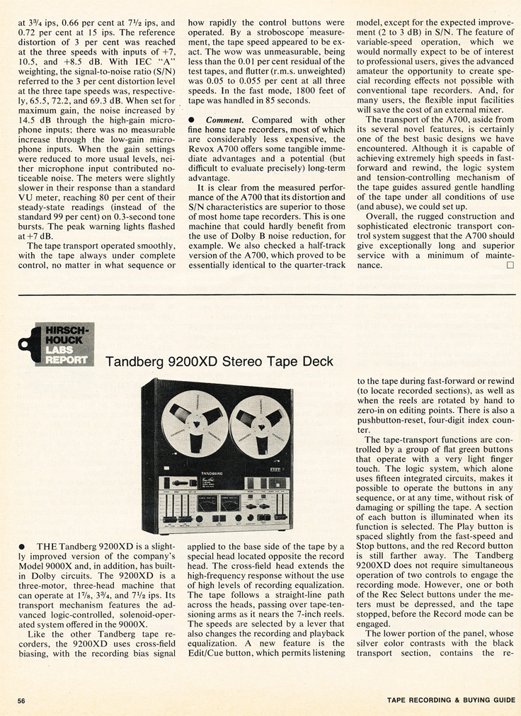 1975 Stereo Review Tape Issue review of the ReVox A700 and the Tandberg 9200DX