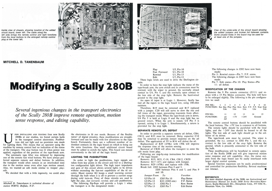 Modifying the Scully 280B