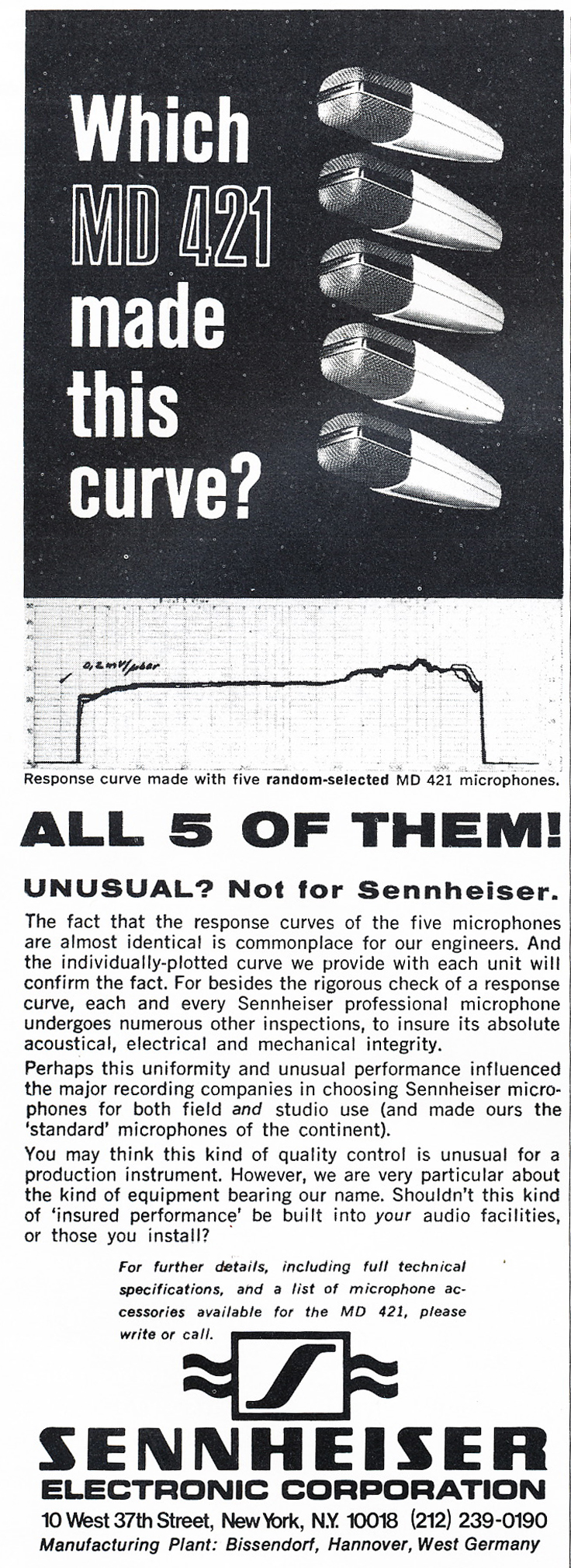 1975 ad for Sennheiser MD421 microphones  in Reel2ReelTexas.com's vintage recording collection