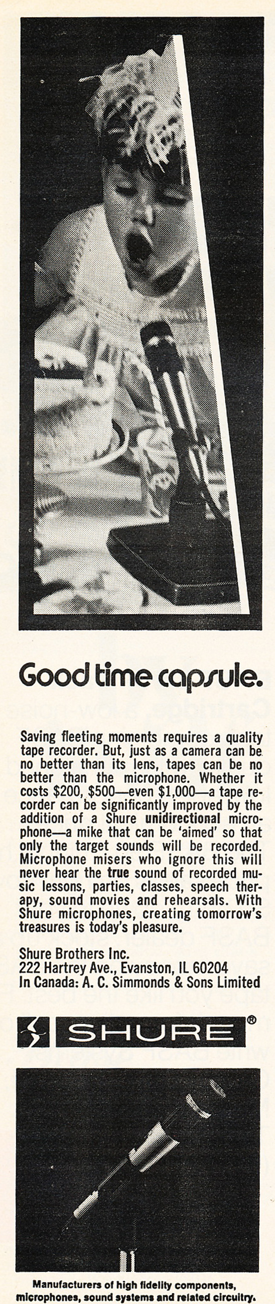 1975 ad for Shure microphones in Reel2ReelTexas.com's vintage recording collection