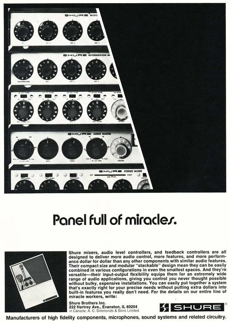 1975 ad for Shure microphone mixers in Reel2ReelTexas.com's vintage recording collection