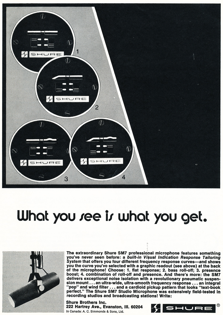 1975 ad for the Shure SM7 microphone in Reel2ReelTexas.com's vintage recording collection