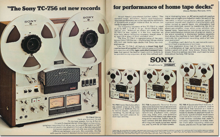 picture of 1975 Sony reel to reel tap recorder ad