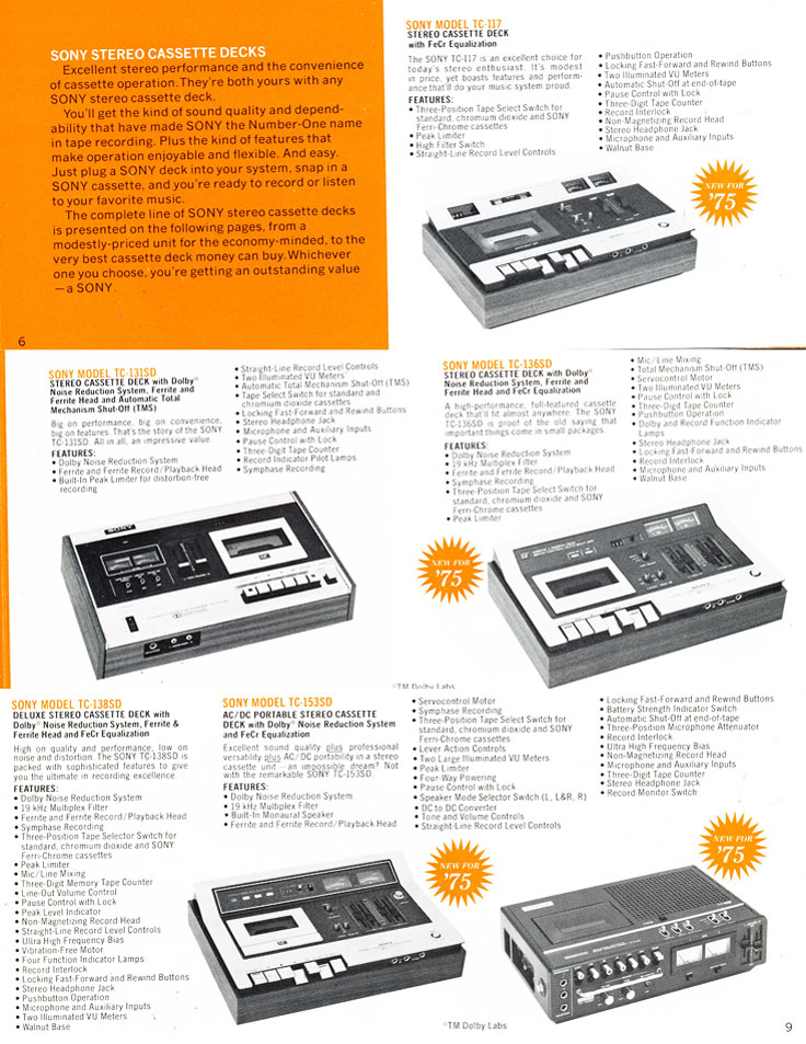 1975 Sony brochure in the Reel2ReelTexas.com's vintage recording collection featuring their reel to reel tape recorders, cassette recorders, microphones and mixers