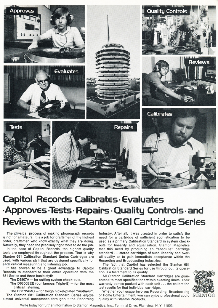 1975 ad for Stanton's work with Capitol Records in Reel2ReelTexas.com's vintage recording collection