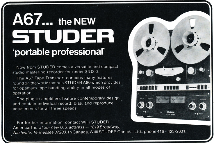 1975 ad for the Studer A67 professional reel to reel tape recorder in Reel2ReelTexas.com's vintage recording collection