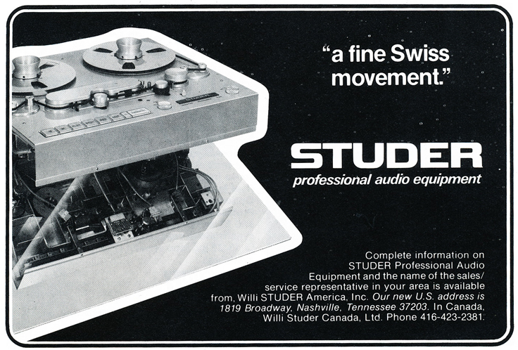 1975 ad for the Studer  professional reel to reel tape recorders in Reel2ReelTexas.com's vintage recording collection