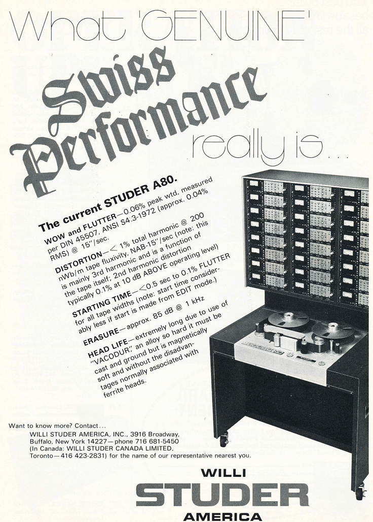 1975 ad for the Studer A80/VU professional reel to reel tape recorders in Reel2ReelTexas.com's vintage recording collection