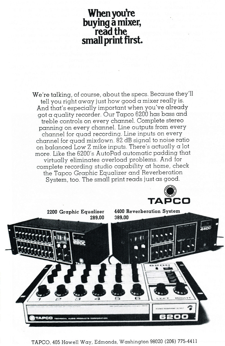 1975 ad for Tapco products in Reel2ReelTexas.com's vintage recording collection